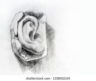 Hand drawing man's ear with space for your text. Art student learning the disciple, class work, training.