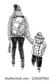 Hand drawing of a mother with her kid going on a stroll