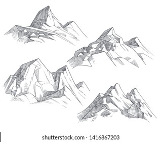 Hand drawing mountain peaks isolated retro etching sketch illustration. Sketch drawing peak line. engraving graphic landscape