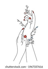 Hand drawing nice design hand with blossom beautiful flower and red color on nail.