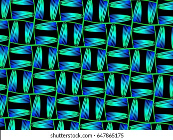 A hand drawing pattern made of blue and green on a black background.