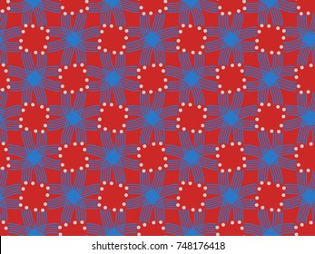 A hand drawing pattern made of blue and white on a red background.