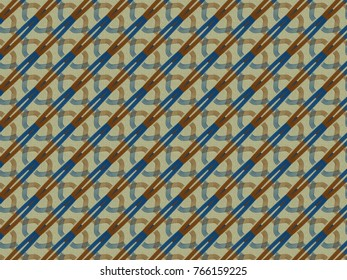 A hand drawing pattern made of blue and orange on a beige background.
