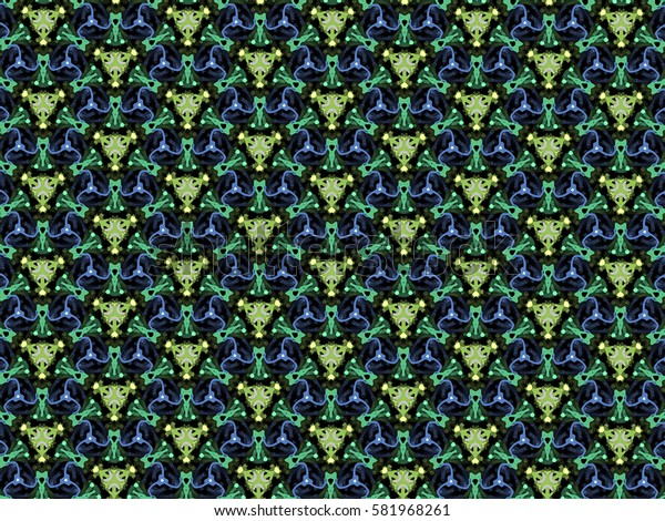 A hand drawing pattern made of blue, green and yellow on a black background.