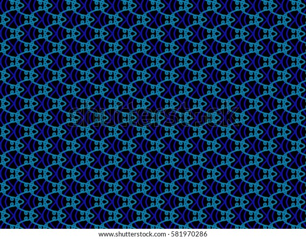 A hand drawing pattern made of blue tones on a black background.