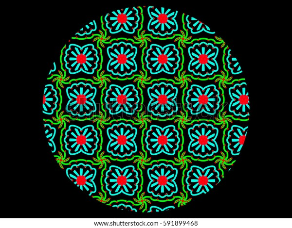 A hand drawing pattern made of blue, green and red in a circle and on a black background.