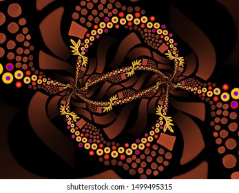 A hand drawing pattern made of brown shades yellow and fuchsia with black