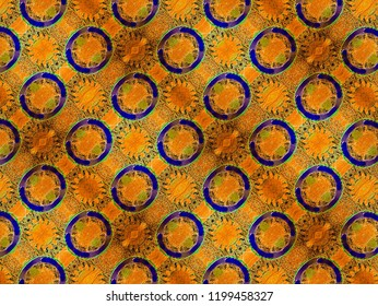 A hand drawing pattern made of gold orange and blue.