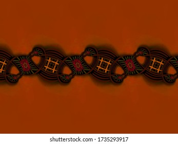 A hand drawing pattern made of orange tones and red with black