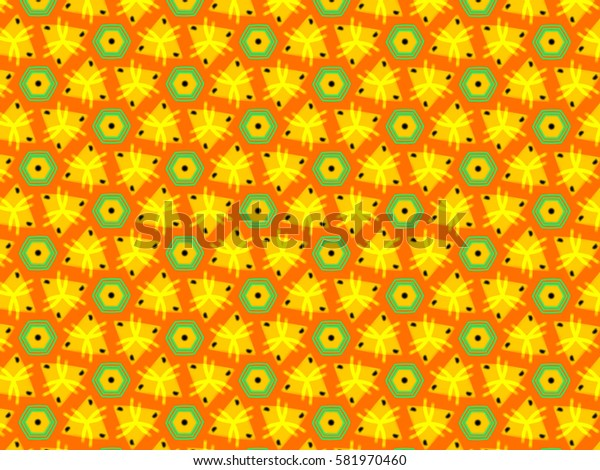 A hand drawing pattern made of orange, yellow and green.