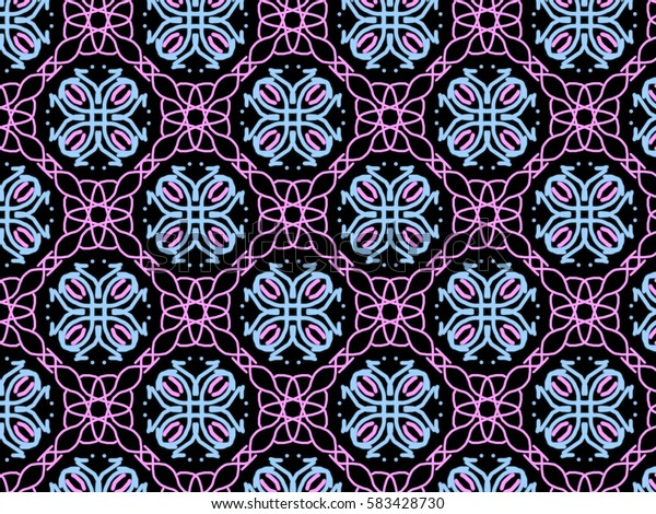 A hand drawing pattern made of pink and blue on a black background.