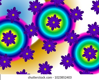 A hand drawing pattern made of purple flowers on a white background with chromatic circles.