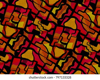 A hand drawing pattern made of red orange and yellow on a black background.