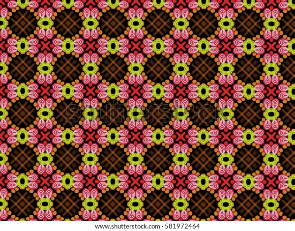 A hand drawing pattern made of red, white, orange and yellow on a black background.
