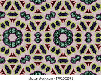 A hand drawing pattern made of white yellow fuchsia and blue