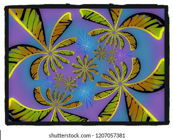A hand drawing pattern made of yellow orange and black on a ble and purple background.