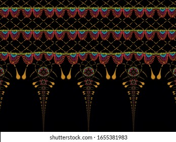 A hand drawing pattern made of yellow red orange and blue on a black background
