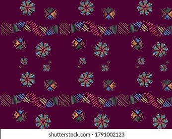 A hand drawing pattern made of yellow green red and blue on a maroon background