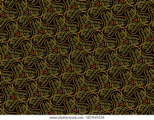 A hand drawing pattern made of yellow, orange and red on a black background.
