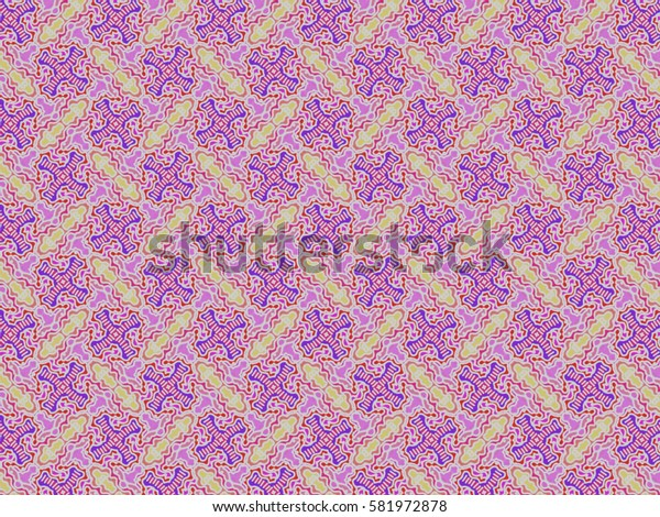 A hand drawing pattern made of yellow, purple, red, pink, orange and white.