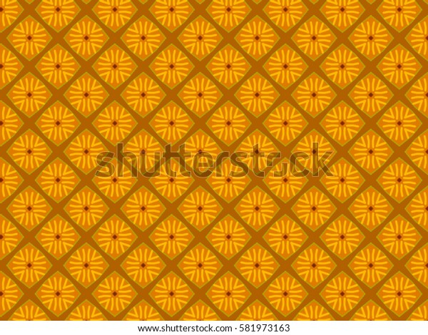 A hand drawing pattern made of yellow, orange and brown.