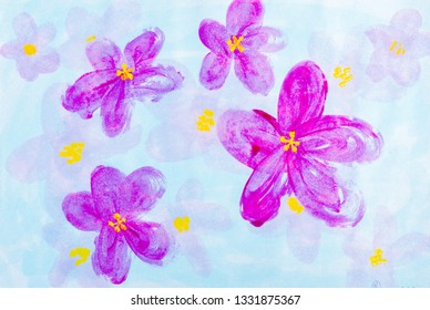 Hand drawing pink flower on blue background acrylic painting