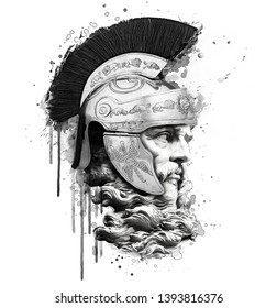 Hand drawing, portrait of roman soldier illustration.T-shirt graphic design for men.Watercolor human face print.Phone case, sticker and poster art.