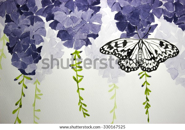 Hand Drawing Purple Flowers Butterfly Backgrounds Stock