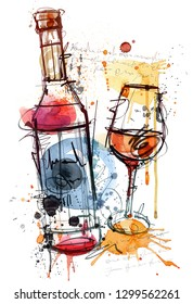 Hand drawing Red Wine isolated on white Background.