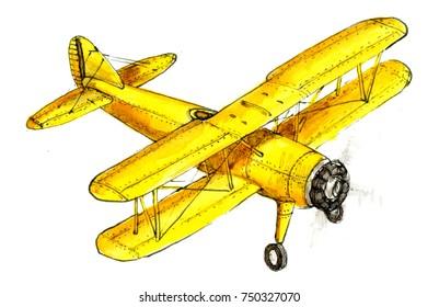 Hand Drawing Retro Aircraft Illustration