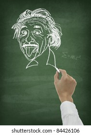 Hand drawing scientist portrait on chalkboard
