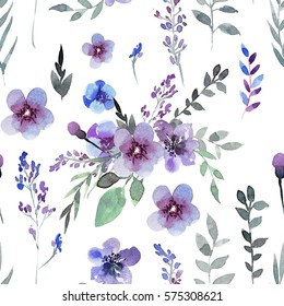 Hand drawing seamless pattern of flowers in blue and purple colors. Watercolor illustration