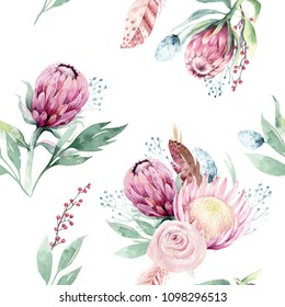 Hand drawing seamless watercolor floral patterns with protea rose, leaves, branches and flowers. Bohemian gold pink pattern prorea. Background for greeting wedding card.