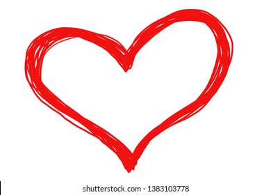Hand drawing. Simple red heart isolated on white background. Can be use decorate for any advertising, card, brochure, paper print or web.