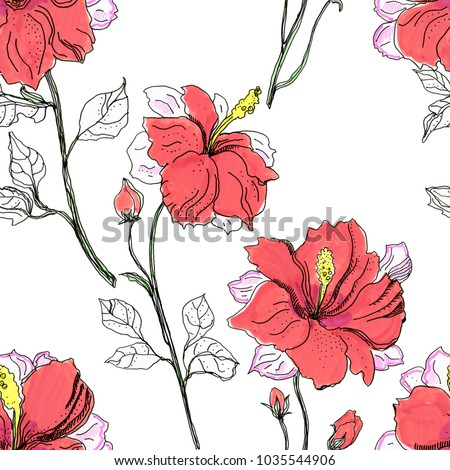 Hand Drawing Sketch Hibiscus Flower Seamless Stock Illustration
