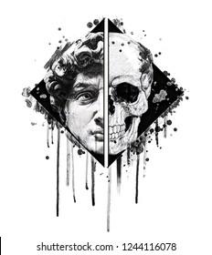 Hand drawing skull illustration.David statue print.T shirt graphics for men.Watercolor artwork.