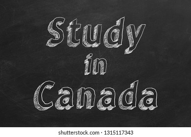 "Hand drawing ""Study in Canada"" on black chalkboard. 2D illustration."