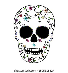 Hand drawing. Sugar skull decorated Day of the Dead (Dia de los Muertos), or calavera. Can be decorate for any card, banner, advertising or web.