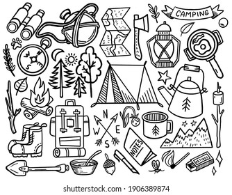Hand Drawing Travelling Doodle Ealements. Summer Adventure. Camping Tools. Coloring Book Isolated