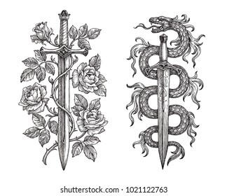 Hand drawing of two medieval steel blades on white background. Symbolical sword with roses and dagger with a snake.