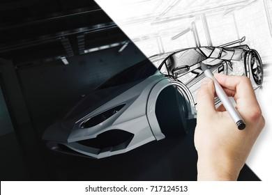 Hand drawing unfinished car design in grunge garage. Technology concept. 3D Rendering