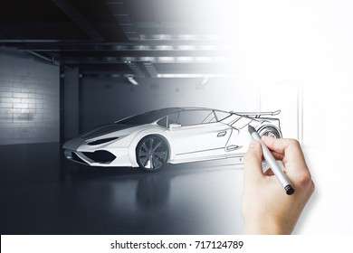 Hand drawing unfinished car design in grunge garage. Assembly concept. 3D Rendering