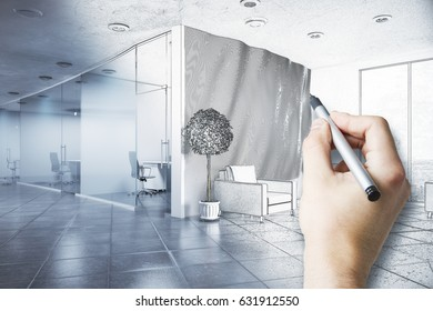 Hand drawing unfinished modern office project. 3D Rendering