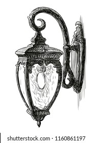 Hand drawing of a vintage street light