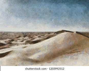 Hand drawing watercolor art on canvas. Artistic big print. Original modern painting. Acrylic dry brush background. Beautiful sandy hill landscape. Wild nature. Desert view. Blue bright sky