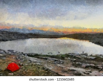 Hand drawing watercolor art on canvas. Artistic big print. Original modern painting. Acrylic dry brush background. Beautiful mountain travel landscape. Wonderful view. Wild lake. Travelling bag