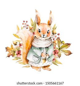 Hand drawing watercolor autumn illustration - squirrel in a dress with floral composition of acorns, leaves, berries, flowers. illustration isolated on white