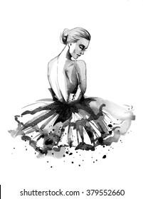 Hand drawing watercolor ballerina, illustration