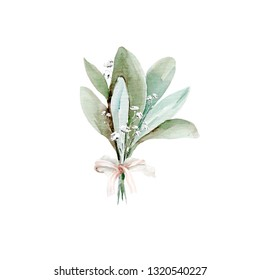 Hand drawing watercolor bouquet of olive branches and flowers. illustration isolated on white