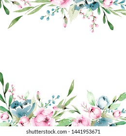 Hand drawing watercolor frame -  pink and blue flowers, leaves. illustration isolated on white. Spring and summer mood. Wedding blossom Floral Design element